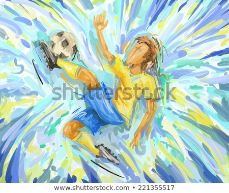 labdarúgó · ugrik · citromsárga · kék · földgömb · sport - stock fotó © BrazilPhoto