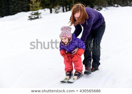 anne · kız · kayakçılık · birlikte · kar · kış - stok fotoğraf © monkey_business
