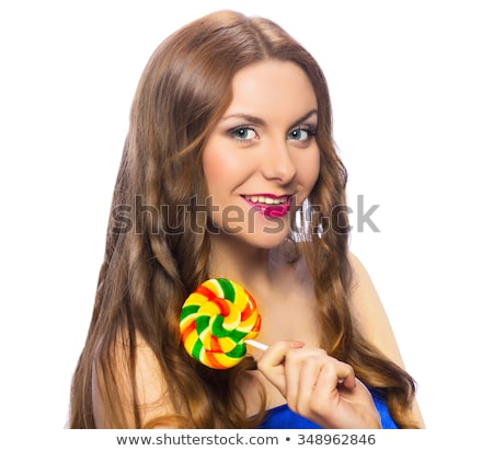 Stockfoto: Kleurrijk · lolly · mode · make · gelukkig · model