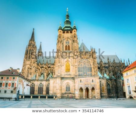 Prága · tornyok · alkonyat · Csehország · óváros · színház - stock fotó © sarkao