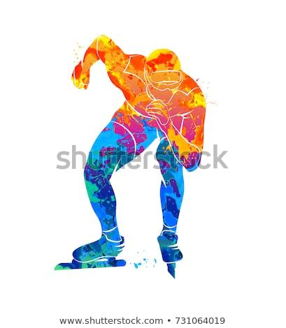 speed skating vector illustration stock photo © leonido