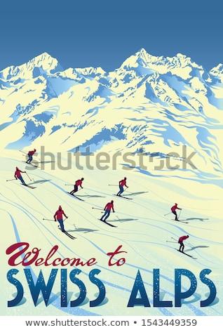 sépia · vintage · esquiador · velho · tradicional - foto stock © smuki