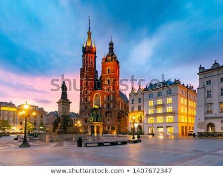 Polen · krakow · markt · vierkante · nacht · oude - stockfoto © joyr
