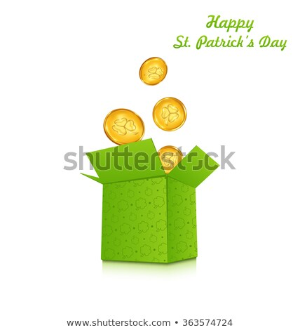 Open cardboard box with golden coins for St. Patrick's Day, isol Stock photo © smeagorl