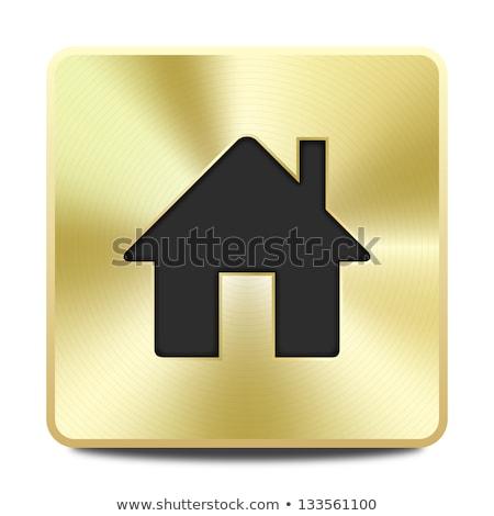 Védett láncszem arany vektor ikon gomb Stock fotó © rizwanali3d