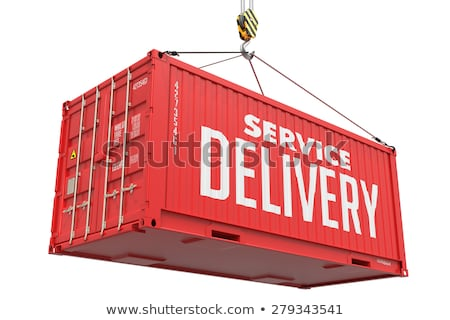 Stock fotó: Fast Delivery - Red Hanging Cargo Container