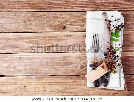 Eski ahşap masa rustik stil çatal bıçak takımı sebze Stok fotoğraf © justinb