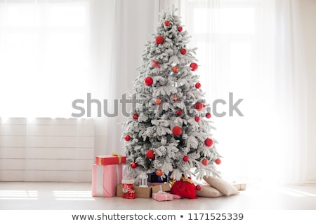 white christmas tree in red stock photo © marinini