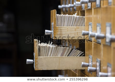 Old wooden card catalog with  opened drawer Stock photo © Valeriy