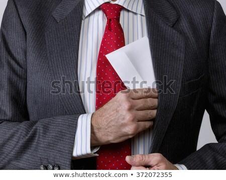 Enveloppe veste poche bleu mail Photo stock © borysshevchuk