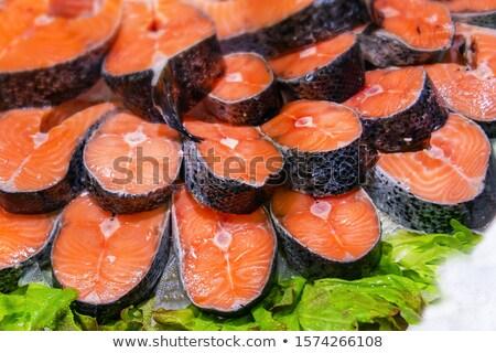Salmão venda mercado fresco vermelho carne Foto stock © elxeneize