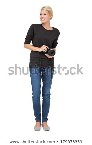 Stock fotó: Teljes · alakos · gyönyörű · női · fotós · fehér · boldog