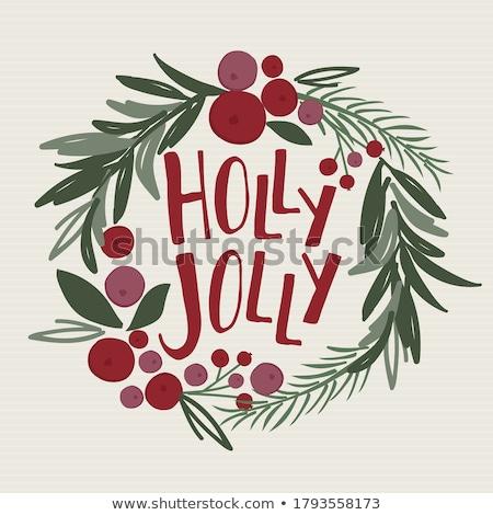 Karácsony bogyók girland keret kép illusztráció Stock fotó © Irisangel