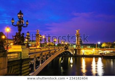 橋 · 川 · 午前 · パリ · フランス · ツリー - ストックフォト © andreykr