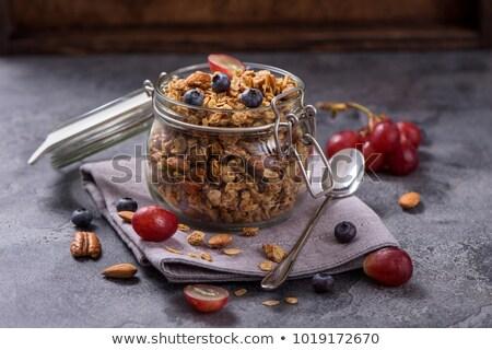 Müsli houten tafel ontbijt gezonde blad glas Stockfoto © andreasberheide