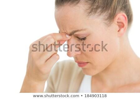 Donna mal di testa naso bianco testa bella Foto d'archivio © wavebreak_media