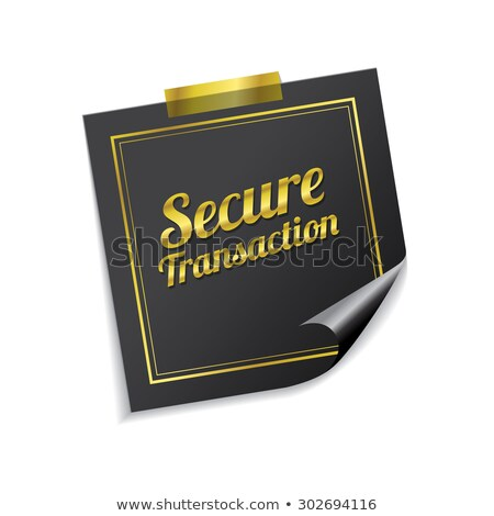 Biztonságos tranzakció arany cetlik vektor ikon Stock fotó © rizwanali3d