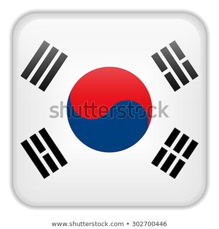 Güney Kore bayrak uygulama kare düğmeler Stok fotoğraf © gubh83