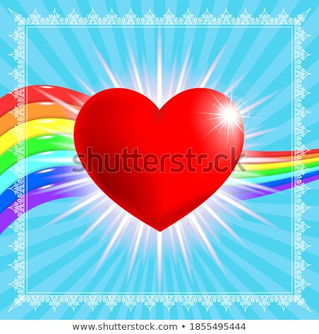 квадратный украшения красный баннер радуга сердце Сток-фото © limbi007