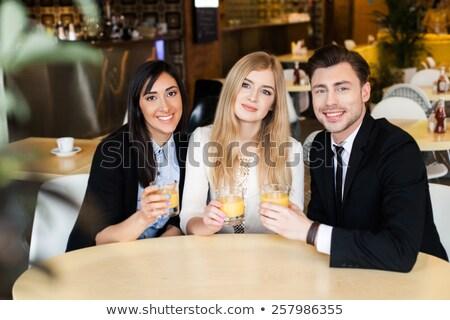 jonge · knap · zakenman · drinken · koffie · kantoor - stockfoto © nenetus