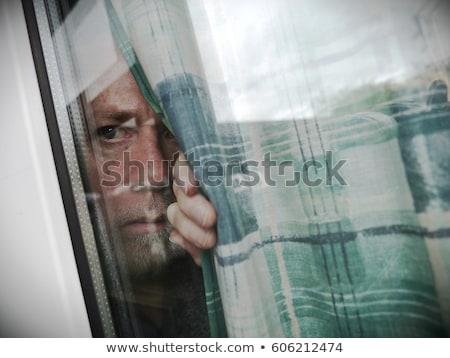 Függönyök sötét piros reflektor nyitva kéz Stock fotó © Bigalbaloo