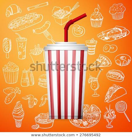 bebida · fria · pop · milho · ilustração · papel · filme - foto stock © netkov1