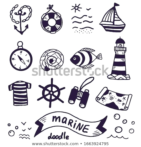 helm boat with hand-drawn elements of marine theme Stock photo © netkov1
