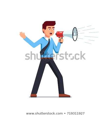homme · mégaphone · besoin · aider · signe - photo stock © fuzzbones0