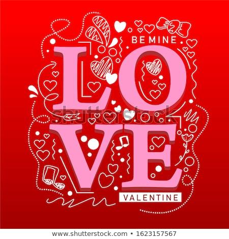 valentijnsdag · wenskaart · Rood · hart · lijnen · liefde - stockfoto © kiddaikiddee