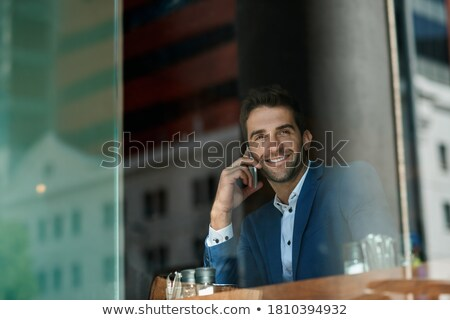 Empresario Servicio jóvenes azul chaqueta taza Foto stock © manera