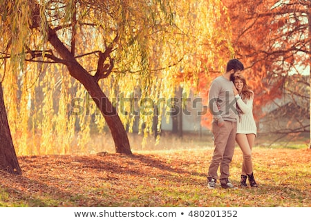 Couple in autumn park Stock photo © Kotenko