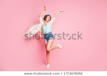 Girl Dancing with Disco Background Stock photo © artisticco