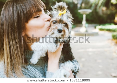 женщину мало собака иллюстрация моде зима Сток-фото © Galyna