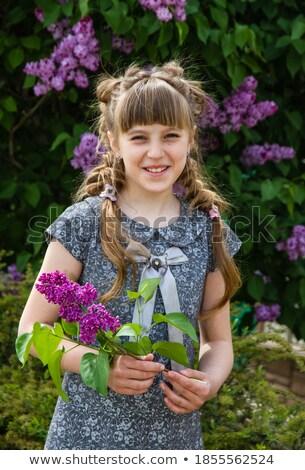 красивая женщина венок Постоянный букет цветы Сток-фото © deandrobot