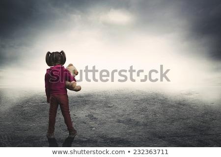 Lány elveszett sötétség fiatal nő zöld ruha Stock fotó © adam121