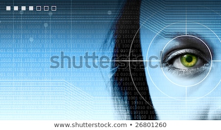 high tech futuristic background with close up of targeted eye  Stock photo © scornejor