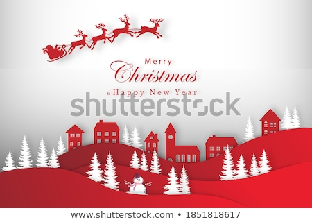 Christmas cityscape and snowfall. EPS 10 Stock photo © beholdereye