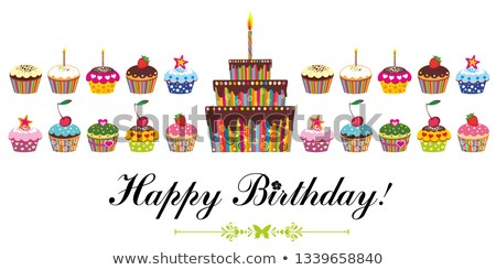 grande · pastel · de · cumpleanos · vector · alimentos · fiesta · feliz - foto stock © loopall