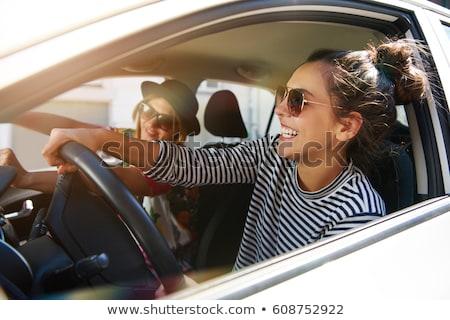 Menina carro mulher nuvens mar viajar Foto stock © dash
