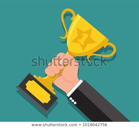 hand holding gold trophy, vector Stock photo © jabkitticha
