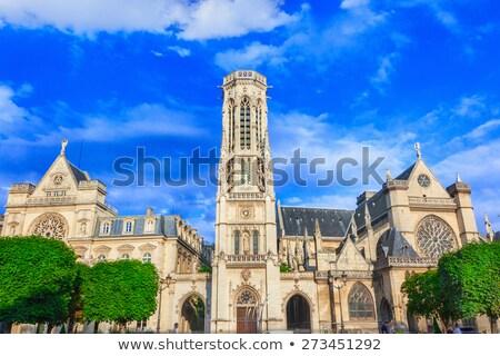 Templom Párizs homlokzat Franciaország gótikus kép Stock fotó © dariazu