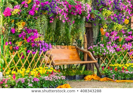 A garden of flowers with a fence Stock photo © bluering