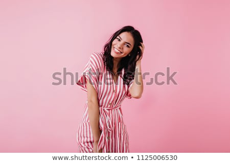 Mode style studio photo cute brunette Photo stock © konradbak