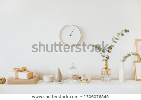 interior with clock on wall 