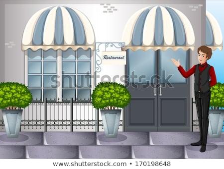 Pincér éttermek bejárat illusztráció férfi szerver Stock fotó © bluering