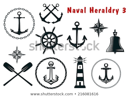 Stock photo: Navy colored ship steering wheel icon