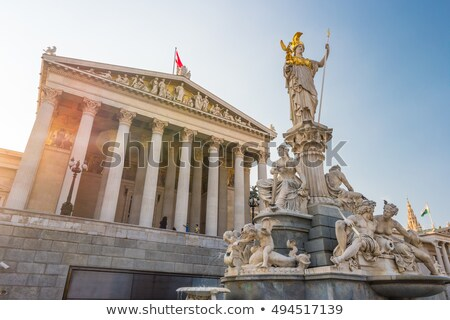 athena statue in front of the parliament in vienna austria stock photo © magann