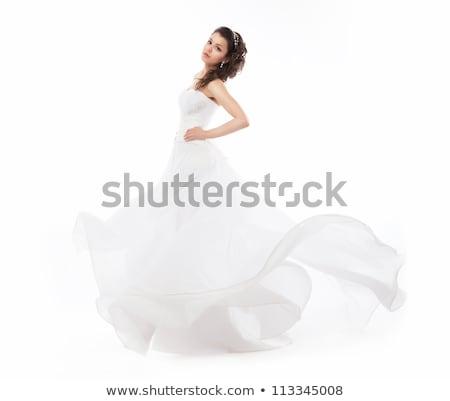 Mosolygó nő fehér ruha gyöngy ékszerek luxus esküvő Stock fotó © dolgachov