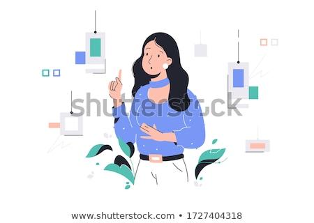 Vrouw kiezen verf kleur twijfelachtig muren Stockfoto © RAStudio