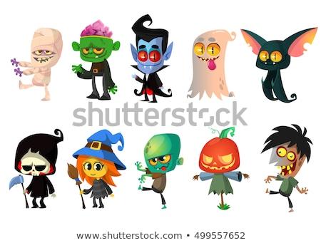 Foto stock: Desenho · animado · halloween · conjunto · mulheres · laranja